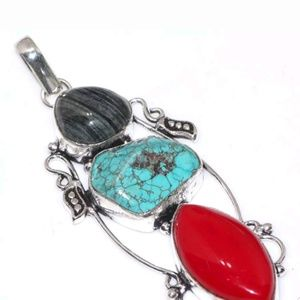 New Handcrafted Red Coral,Turquoise Pendant